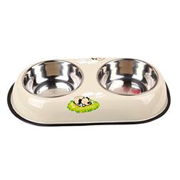 LVSEHUIYI 2 In 1 Pet Dog Food Bowl Puppy Travel Feeder Water