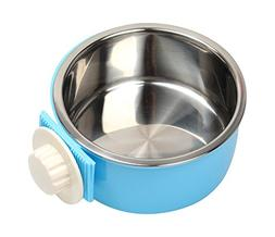 2 in 1 Pet Hanging Cage Bowl Removable Food Water Feeder Bow