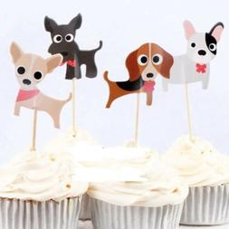 12x Dog Puppy Food Cupcake Food Topper Pick Party Supplies L