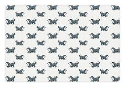 Ambesonne Dog Pet Mat for Food and Water, Husky Puppy Siberi
