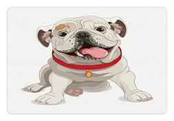 Ambesonne English Bulldog Pet Mat for Food and Water, Happy