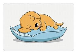 Ambesonne Golden Retriever Pet Mat for Food and Water, Cute