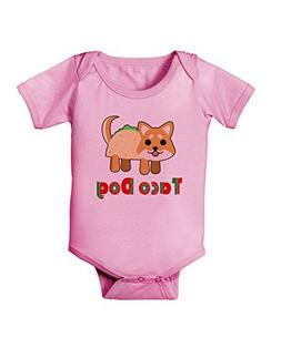 TooLoud Cute Taco Dog Text Baby Romper Bodysuit - Candy Pink