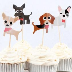 Cute Dogs Puppies Cupcake Double-Sided Toppers/Food Picks Se