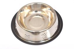 PRC Dog Bowl 32 Ounce Stainless Steel With Rubber Base That