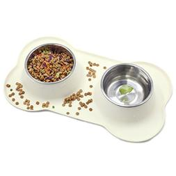 Vivaglory Dog Bowls with Non Spill Skid Resistant Mat, Stain