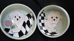 """Dog Bowls, Two 6"""" Maltese Dog Bowls for Food and Water. Pers"""