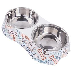 KLASKWARE Dog Bowls Double Stainless Steel Cat Dishes with N