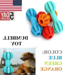 Dog Cat Puppy Squeaky Dumbbell Rubber Toy Food Leaker Dental