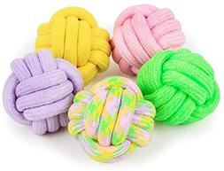 Gold Happy Dog Toy Funny Strong Cotton Rope Knitting Dog Bal