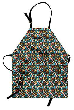 Ambesonne Dogs Apron, Pattern with Puppy Food Paw Traces Bow