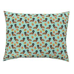 Roostery Doxie Standard Knife Edge Pillow Sham Dachshund Foo