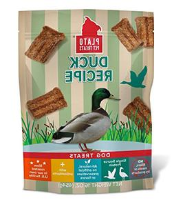 PLATO Dog Treats – Natural Duck Flavor– Chewy and Delici