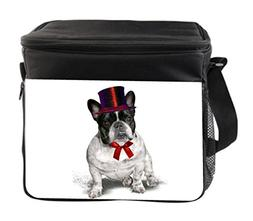 French Bulldog Puppy Large Insulated Black Lunch Bag with St