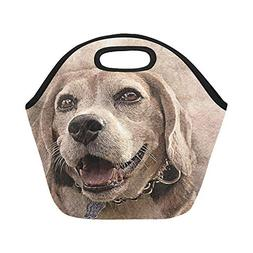 Insulated Neoprene Lunch Bag Dog Pet Art Abstract Vintage An