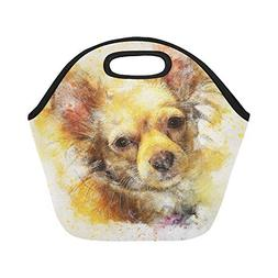 Insulated Neoprene Lunch Bag Dog Animal Art Abstract Waterco