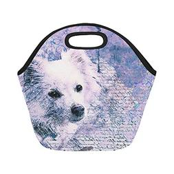 Insulated Neoprene Lunch Bag Dog Art Abstract Watercolor Vin