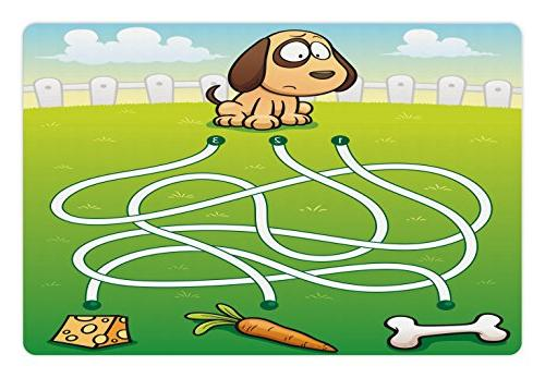 Ambesonne Kid's Activity Pet Mat for Food and Water, Cartoon