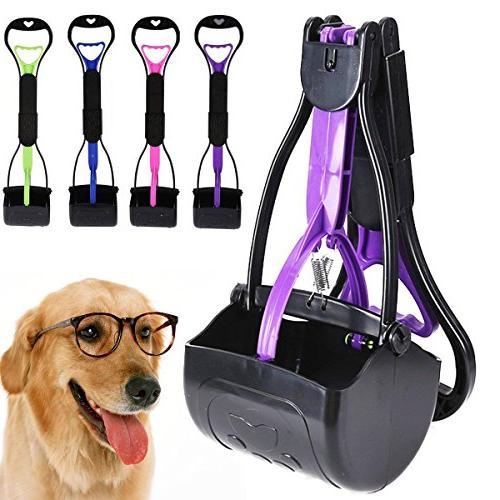 Pet Portable Pooper Scooper With Waste Bag Long Handle Waste Holder Container