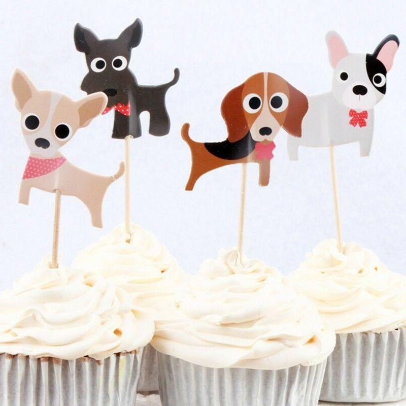 cute dogs puppies cupcake double sided toppers