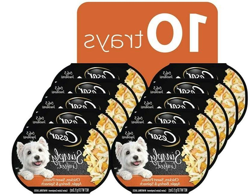 Pack of 10 CESAR SIMPLY CRAFTED Wet Dog Food, 1.3 oz/Trays-C
