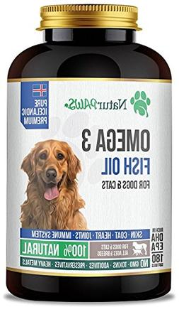 NaturPAWS Omega 3 Fish Oil 180 Softgels 1000mg For Dogs, Cat
