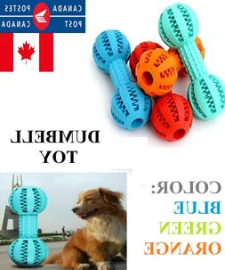 Pet Dog Dumbbell Rubber Toy Teeth Treat Food Leaker Puppy Ch