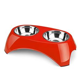 Flexzion Pet Feeder Bowls Double Stainless Steel  - Removabl