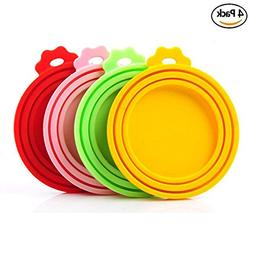 4 Pack Pet Food Can Cover,Universal BPA Free Silicone Pet Fo