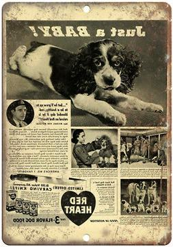 """Red Heart Puppy Food Vintage Ad 10"""" X 7"""" Reproduction Metal"""