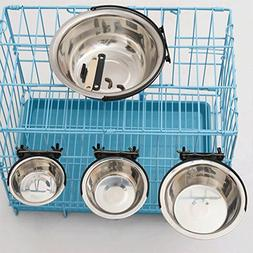 LoVnely Stainless Steel Hanging Pet Food and Water Bowls for